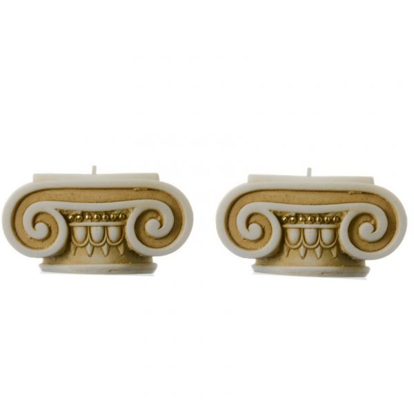 Set of 2 Ionic Order Candle Holder Ancient Greek Colum Gold Tone