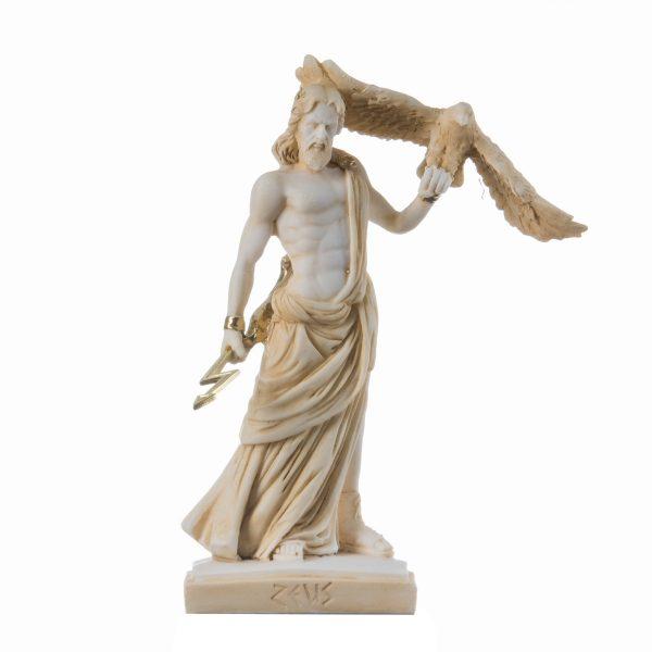 Zeus Greek God Jupiter Thunder Statue Figurine Gold Alabaster 7.48″