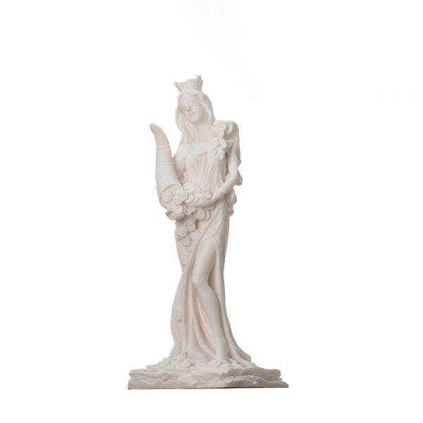 Goddess Of Wealth Tyche Lady Luck Fortuna Statue Alabaster Sculpture 8.6″