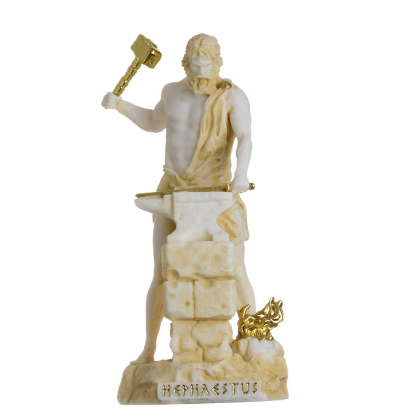 Hephaestus God of fire, metalworking, stone masonry, forges  and the art of sculpture Gold Tone 6.69″
