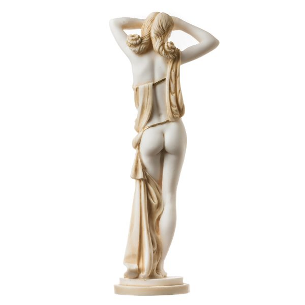 Naked Nude Sexy Female Woman Aphrodite Alabaster Statue Sculpture Gold 12.2″