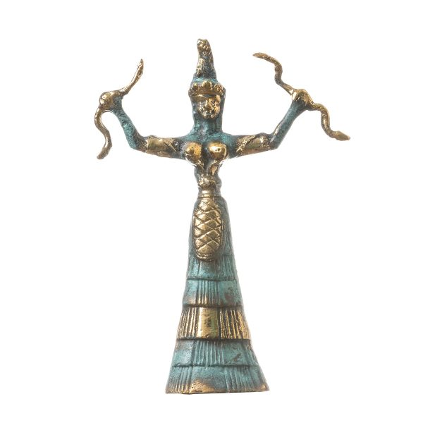 Ariadne Minoan Snake Serpent Goddess Museum Replica Knossos Handmade Bronze 6.69″