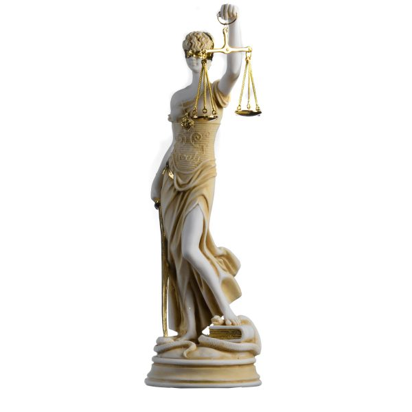 Greek Goddess Themis Statue Gold Colour Blind Lady Justice Sculpture Lawyer Gift 13.97""