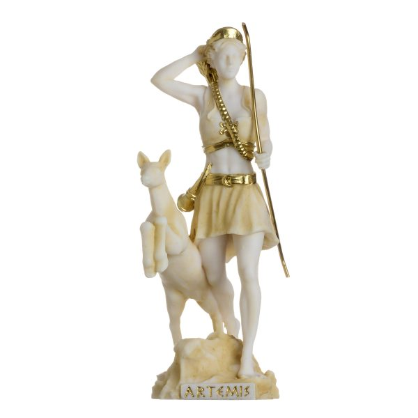 Goddess Artemis Diana Greek Statue Nature Moon Gold Tone Alabaster 6.69″