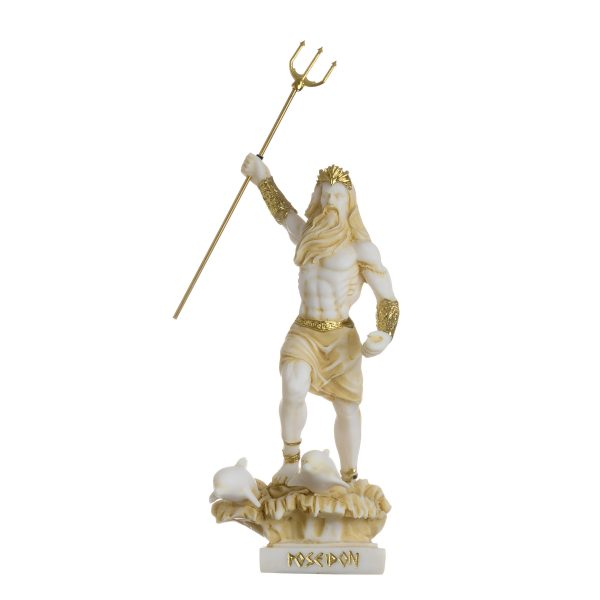 Poseidon Greek God of the Sea  With Trident Statue Figurine Gold Alabaster 6.49″