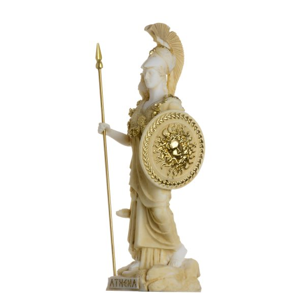 Athena With Owl Medusa Shield Goddess of wisdom, handicraft, and war Alabaster Statue Gold 6.69″