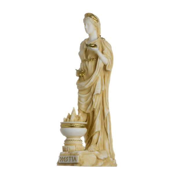 Hestia Goddess of the hearth, home family, and the state Alabaster Statue Gold Tone 6.69″