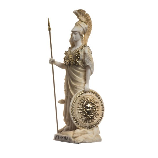 Athena With Owl Medusa Holding Shield Goddess of wisdom, handicraft, and war Alabaster Statue Gold 6.69″