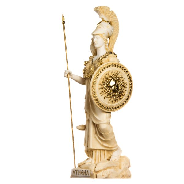 Athena with Owl Medusa Holding Shield Greek Goddess Alabaster Statue Gold 14.56″