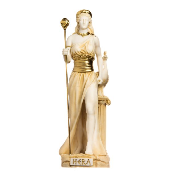 Hera Goddess of Marriage, Women, Childbirth, and Family Alabaster Gold Tone 13″