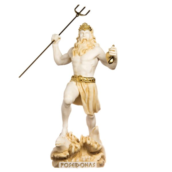 Poseidon Greek God of The Sea with Trident Statue Figurine Gold Alabaster 13″