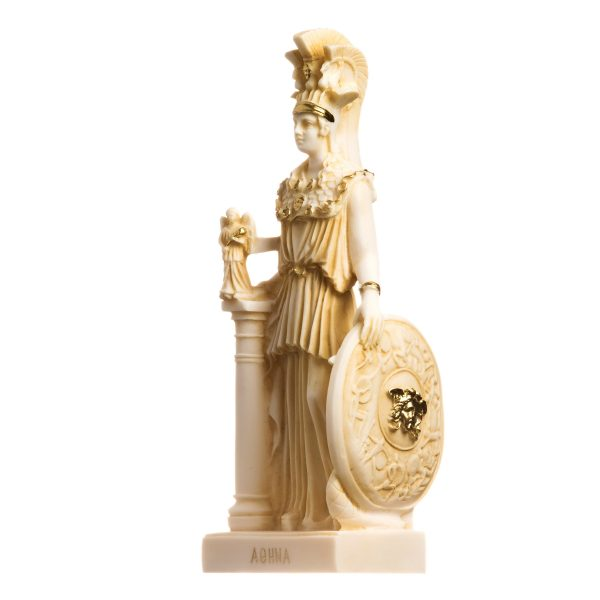 Athena Parthenos Varvakeion Holding Nike with Medusa Shield Greek Goddess Alabaster Statue Gold 10.6inches 27cm