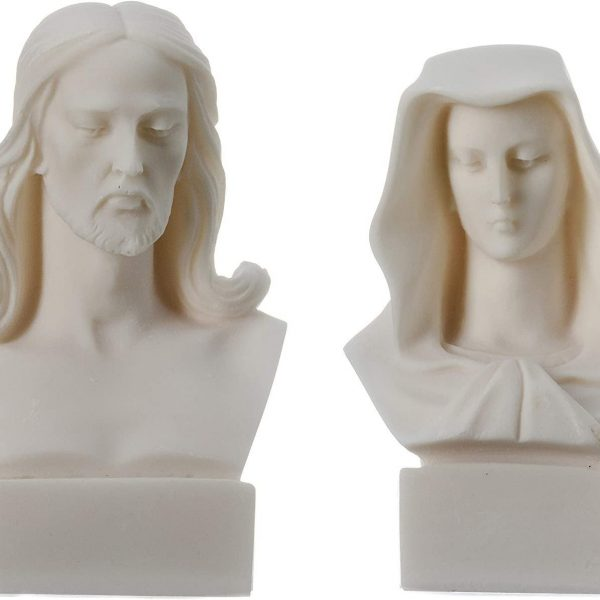Jesus Mary Alabaster Statues Figurine Bust Vintage Ancient Greek Set 4.72″ 5.3″