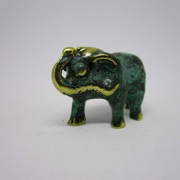 Good Luck Elephant Statue African Asian 100% Bronze Handmade Miniature