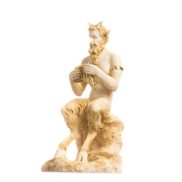 Satyr Pan Panas Greek Roman Statue Handmade Alabaster Gold Male Figure 4.7″ 12cm