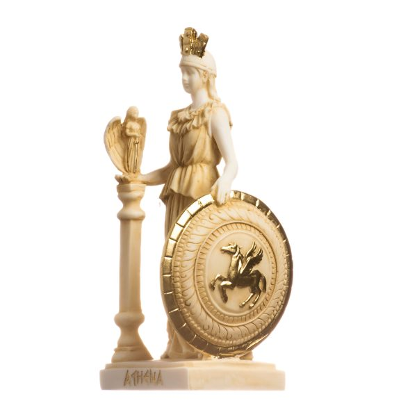 Athena Parthenos Varvakeion Holding Nike with Pegasus Shield Greek Goddess Alabaster Statue Gold 7.5inches 19cm