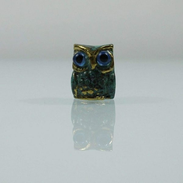 Owl of Athena Wisdom Solid Bronze Greek Green-Gold Handmade Miniature