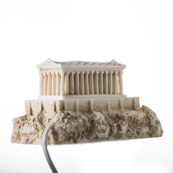 Parthenon Temple With Night Lamp Temple of Goddess Athena Gold Alabaster 10.6""