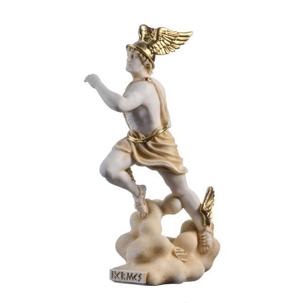 Hermes Mercury God Zeus Son Roman Statue Alabaster Gold Tone 9″ 23cm