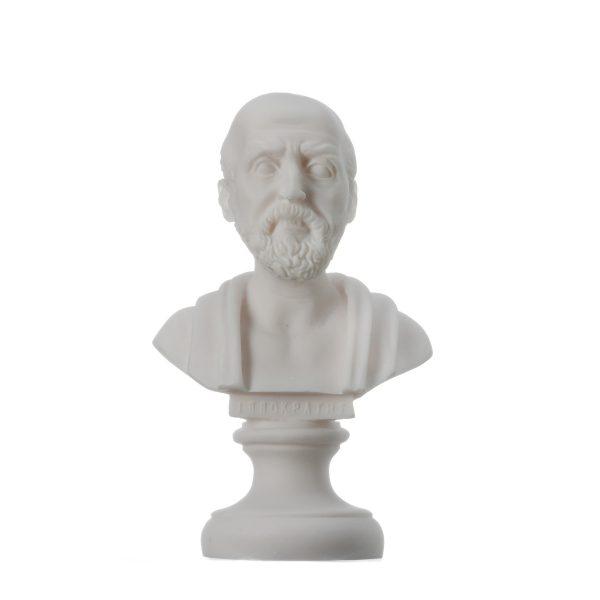 Hippocrates of Kos Father of Medicine Alabaster Statue Bust 5.9″