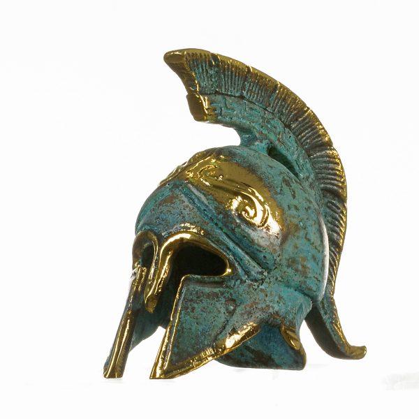 Ancient Greek Bronze Miniature Helmet Bronze Oxidation Handmade 2.95″