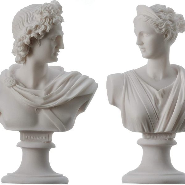 Artemis Diana and Apollo Bust Greek Statues Figurine Gods Alabaster