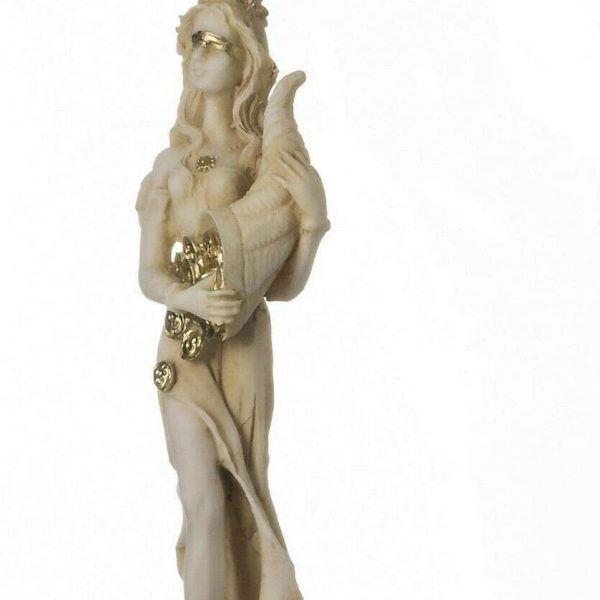 Goddess Of Wealth Tyche Lady Luck Fortuna Statue Alabaster Sculpture Golden 5″ R