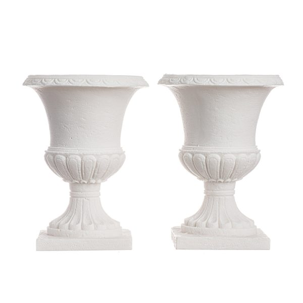 Candle Holder Set Handmade Flower Pot Style  Alabaster White Wedding Ancient Greek 4.3 Inch