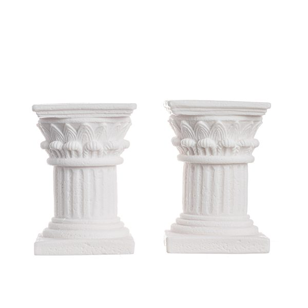 Romantic Dinner Candles Set Of 2 Corinthian Order Holder Ancient Greek Column Alabaster 3.9″
