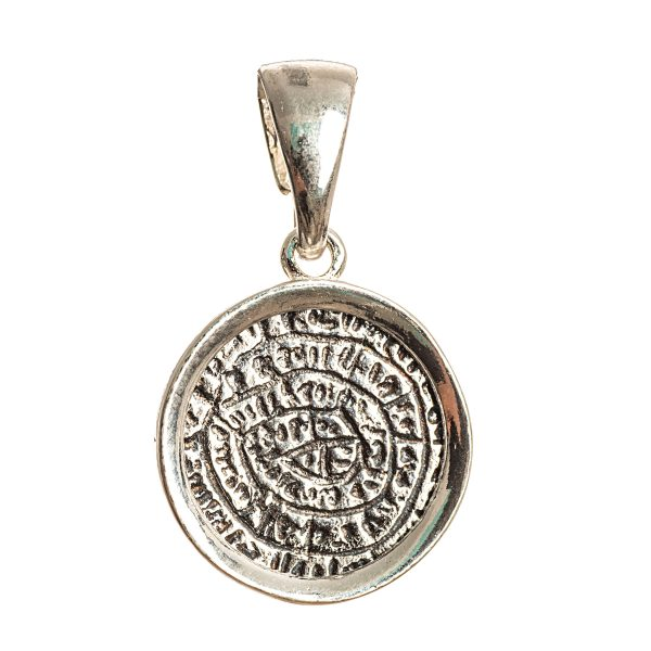 Phaistos Disc Silver Sterling 925 Mythical Greek Mens Women Pendant with frame S
