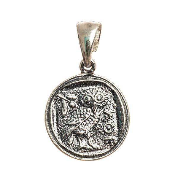 Owl of Athena Wisdom Pendant Small Replica Greek Coin Mythology Rustic