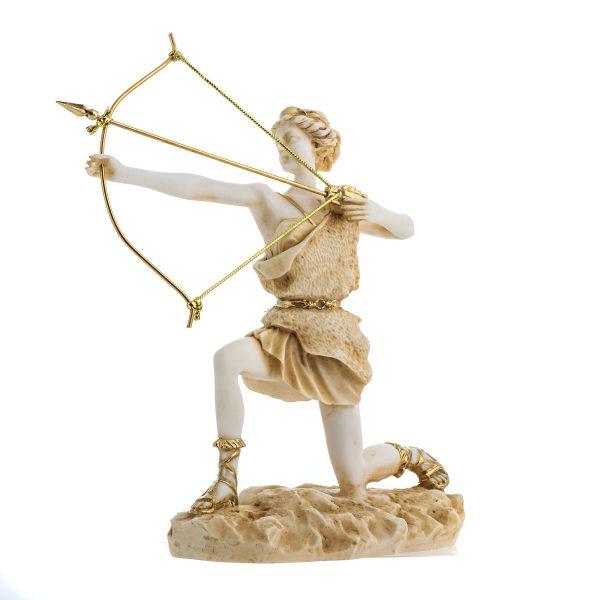Goddess Artemis Diana Greek Statue Nature Moon Gold Tone Alabaster 9.25″