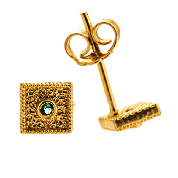 Byzantine Green Cubic Zirconia Square Earrings 925 Sterling Silver Gold Plated Vintage Retro