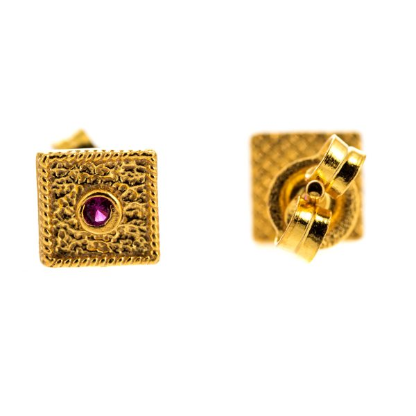 Byzantine Pink Cubic Zirconia Square Earrings 925 Sterling Silver Gold Plated Vintage Retro