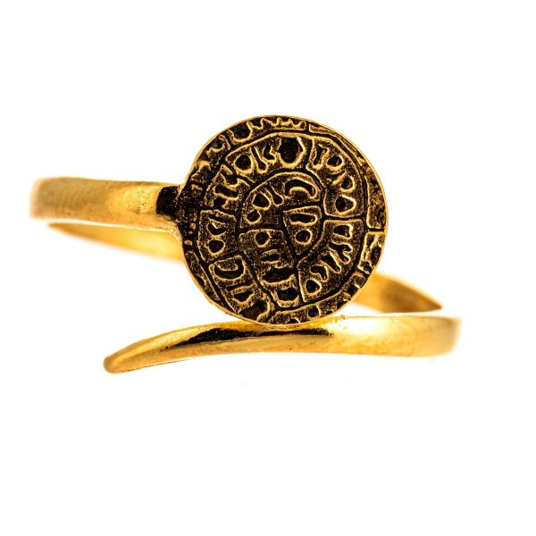 925 Sterling Silver Phaistos Disc Ring Adjustable Gold Plated Ancient Minoan Greek Coin