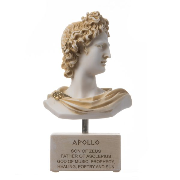 Apollo God Of Music Poetry Art Alabaster Stone Bust Gold Tone  Sculpture 7.87″