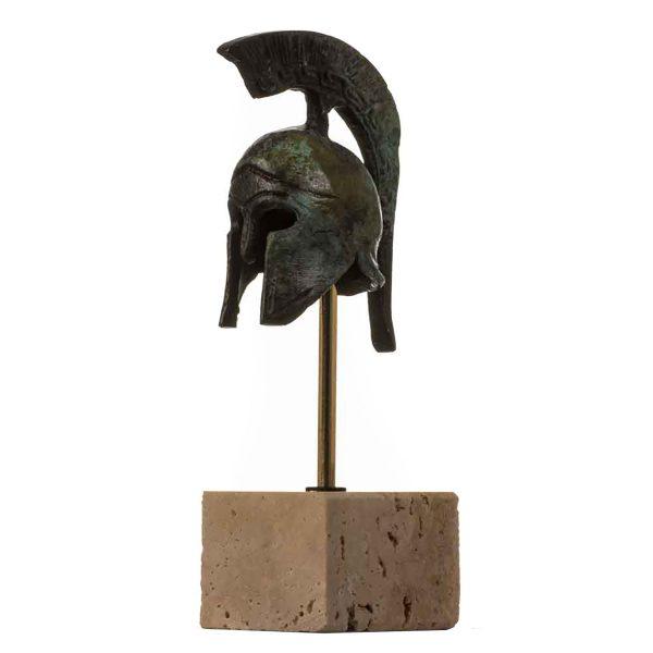 Helmet Spartan Officer  Ancient Greek  Bronze Museum Replica Vintage with base 4.9″