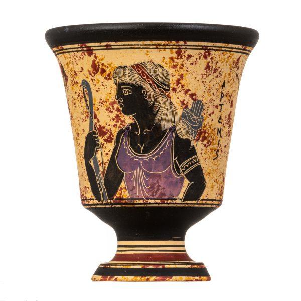 Pythagoras Cup of Justice Pythagorean Fair Mug Ancient Greek Goddess Artemis Hand Painted Ceramic