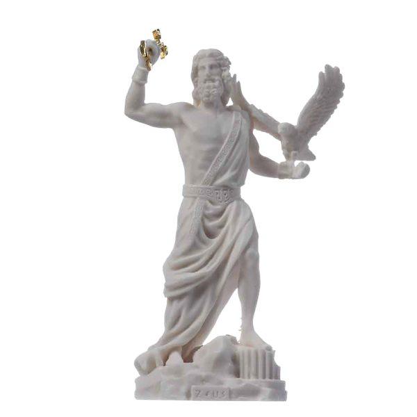 Zeus Greek God Jupiter Thunder Statue Figurine Alabaster 7.08″