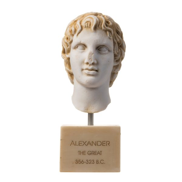 Alexander The Great of Macedonia Gold Tone Bust Greek Statue Figure 8.66″