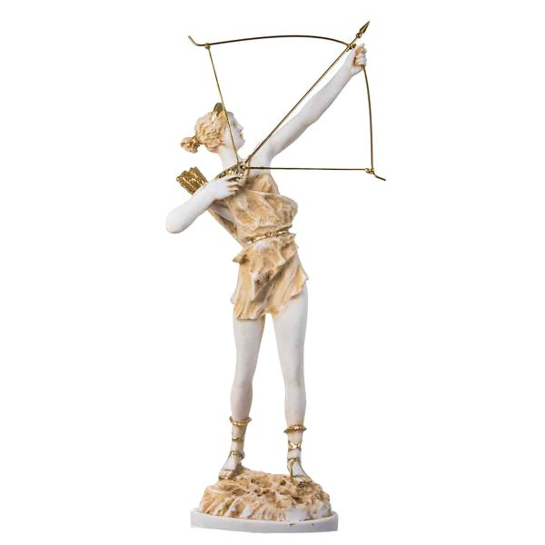 Goddess Artemis Diana Greek Statue Nature Moon Gold Tone Alabaster 16.5″