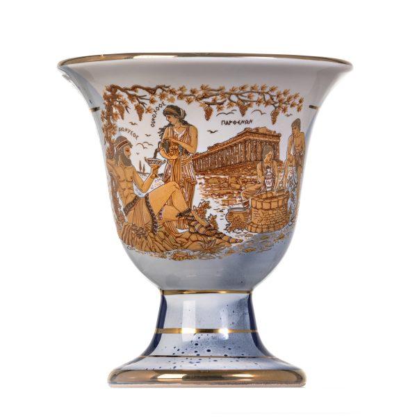 Pythagoras Cup of Justice Pythagorean Fair Mug Ancient Greek God Dionysus Representations Blue 24 Kt Gold Ceramic