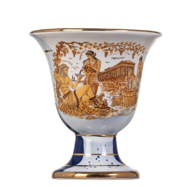 Pythagoras Cup of Justice Pythagorean Fair Mug Ancient Greek God Dionysus Representations Blue 24 Kt Gold Ceramic II
