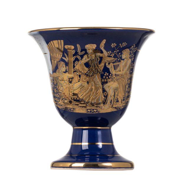 Pythagoras Cup of Justice Pythagorean Fair Mug Ancient Greek God Poseidon Representations Blue 24 Kt Gold Ceramic II