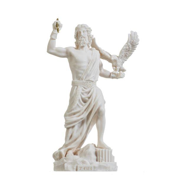 Zeus Greek God Jupiter Thunder Statue Figurine Alabaster 9.25″