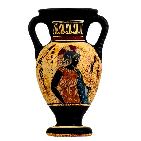 Ancient Greek Minoan Amphora Handmade Pottery Vase With Goddess Athena Ceramic