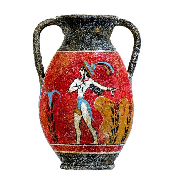 Ancient Greek Minoan Amphora Handmade Ceramic Pottery Vase With Fresco Prince Of Lilies Mural S