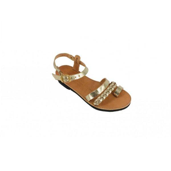 Gold Ancient Greek Style Leather Sandals Roman Handmade Kids Girls Shoes Toe Ring Spartan Summer Strappy Slip-on Slide Children Flat