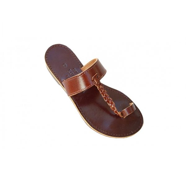Brown Black Ancient Greek Style Leather Sandals Roman Handmade Womens Shoes Toe Ring Spartan Summer Strappy Slip-on Slide Flat Flip Flops