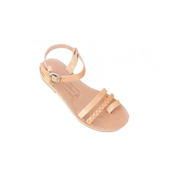 Ancient Greek Style Leather Beige Brown Sandals Roman Handmade Womens Shoes Toe Ring Spartan Summer Strappy Slip-on Slide Flat